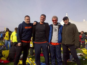 Roy Youngberg, (second from right) with three running mates prior to this year's Boston Marathon.