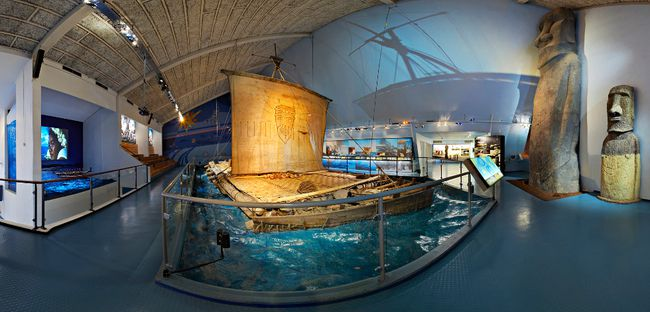 In 1947, Norwegian explorer Thor Heyerdahl and his crew sailed across the Pacific from Peru to Polynesia on this raft. The recently restored wooden vessel is on display at the Kon-Tiki Museum in Oslo, Norway. KON-TIKI MUSEUM PHOTO