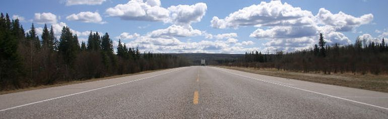 A portion of Highway 63 near Anzac awaiting twinning.