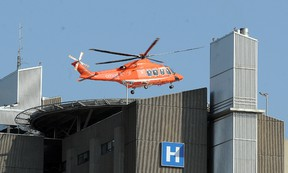 An Ornge air ambulance helicopter lifts off from the Health Science North helipad in this file photo. GINO DONATO/THE SUDBURY STAR