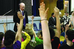 Alberta Education Minister Jeff Johnson received overwhelming support from students at Fultonvale Elementary and Junior High School after announcing a $21 million provincial investment to modernize the school. Leah Germain/Sherwood Park News/QMI Agency