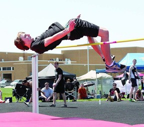 Josh Hill of Northwestern places second in the junior boys high jump at a high school track and field meet Wednesday in Strathroy. Hill cleared 1.80 metres to break the Northwestern school record of 1.65m set by Kyle Groenestege back in 2005.  Photo by Marcie Stears