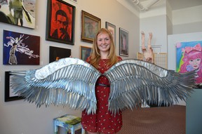 """Vita Cooper with her piece, """"Al Janahot"""", part of the Art and Craft Legacy Show for senior high school students at the Owen Sound Artists' Co-op during the month of May. (Rob Gowan The Sun Times)"""