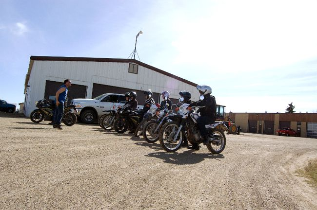 Steve Swindlehurst shouts out encouragement to the ten students participating in the Grande Prairie Regional College Ready To Ride Motorcycle Program on Saturday, May 4