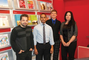 Flight Centre employees David Krymusa, Enver Naidoo, James Bradley and Michelle Neufeld are working at the international travel agency's new Grande Prairie location. The store opened on May 1 and is located in Prairie Mall. Grande Prairie, Alberta. Tuesday, May 7, 2013 KIRSTEN GORUK/DAILY HERALD-TRIBUNE/QMI AGENCY