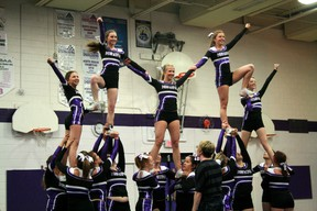 The Beaver Brae Bronco Cheerleaders hold the final pose of their pyramid during a show in front of students at the high school. The Bronco cheerleaders captured their first ever national championship on Saturday, May 11 at the Cheer Evolution 2013 Canadian National Cheer and Dance Championships.  GRACE PROTOPAPAS/KENORA DAILY MINER AND NEWS/QMI AGENCY