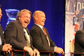 Edmonton Oilers alumni Glenn Anderson and Mark Messier share a laugh during the hotstove segment of the One on One banquet in support of the Keyano College Huskies Athletics Endowment Saturday evening at the Syncrude Sport and Wellness Centre.   TREVOR HOWLETT/TODAY STAFF