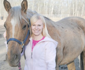 Logan Clow/R-G Local barrel racer Rosalyn Harpe with her horse  ìCougarî that she will be competing with this year. The Record-Gazette sat down with Harpe to learn more about the sport of barrel racing.