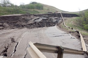 Highway 744 south of Peace River was closed last spring due to a slide that collapsed the entire road going up Judah Hill. Michaela Hiebert/QMI Agency