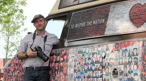 Tim Van Horn, the creator of the Canadian Mosaic Project, stands by his van near the Woolen Mill in Kingston Monday. Van Horn is traveling across Canada taking pictures of Canadians to create a giant mosaic with an estimated 36,000 photographs. Danielle VandenBrink/The Whig-Standard