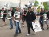 Elevator workers picket at Wellington and Dundas St. (BRENT BOLES, The London Free Press)