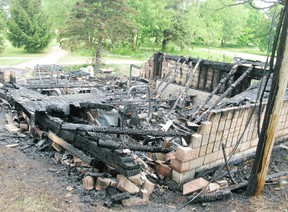 DANIEL R. PEARCE Simcoe Reformer A storage shed at the Delhi Golf & Country Club burned to the ground Wednesday night, destroying all the course's lawn equipment. Cause of the fire is unknown, fire officials say.