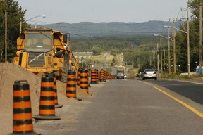 Road construction on Second Line, Sault Ste. Marie
