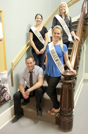 Kincardine and District Community Living's host and models are gearing up for the June 1, 2013 event at the Kincardine Davidson Centre Hall. A grand prize of $1,500 cash will be revealed, along with a $500 cash prize and many other items. Bottom to top: Host Daniel Pitre and models Courtney Nelson, Sarah Chaput and Samantha Pitre. Absent was model Allison Greenley. (TROY PATTERSON/KINCARDINE NEWS)