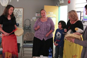 A few community members and the Friends of Greenwater held a small drum circle on the closing evening of their Greenwater Love Exhibition at the Cochrane Public Library.