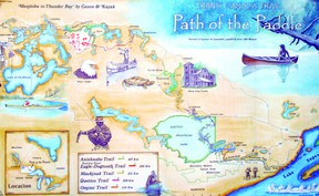 Path of the Paddle is a 900-kilometre canoe and portage route from Thunder Bay to Manitoba linking the east and west sections of the Trans Canada Trail. Path of the Paddle map illustration by Hap Wilson