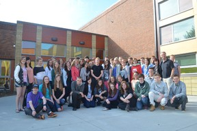 On their last day at Memorial Composite High School on May 27, Eppendorf Gymnasium students gathered with their hosts for a photo before saying their goodbyes. - Thomas Miller, Reporter/Examiner