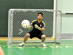 The Ontario Federation of School Athletic Associations boy's 'A' soccer championship final kicks off in Timmins on Thursday, with the best teams from all over the province competing for top honours. O'Gorman High School Knights goalie Ian Santos tracks the ball at practice on Monday.