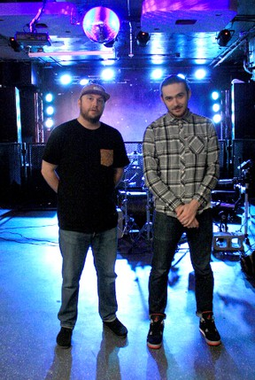 Brendan Colameco, right, and Trevor Wakeford — aka DJ Acro — both of Timmins are teaming up to play the Ottawa Bluesfest on July 6.