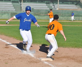 The Wacky Wings/Champoux Homes Orioles defeated the Timmins Whiskey Jacks 9-5 in the Timmins Men's Baseball League season opener at Fred Salvador Field on Tuesday.