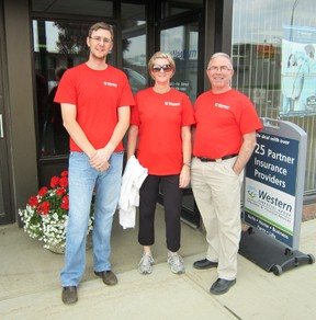 Western Financial Group in Fairview performed their annual Support The Cause Day walk, a 5 km walk to raise money for the communities Western Financial Group serves across Western Canada, including Fairview. Pictured, l-r, Andrew Szmata, Billi McDonald, Kris Hvamb.