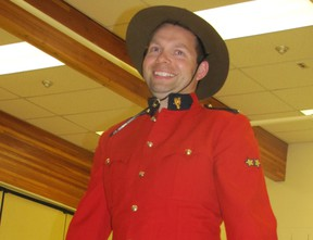 """Nolan Andriuk as Cliffie 2 Nolan Andriuk, an Elmer Elson Elementary School Grade 4 teacher, was transformed from his """"undercover identity as a teacher"""" into Cliffie the RCMP officer in Mary Lambert's performance at the school on Thursday, May 30. He and Lambert led the students in the song with actions, I want to be an RCMP, which had the refrain, Stop in the name of the law.  Ann Harvey 