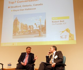 Mayor Dan Mathieson tells Stratford's story to Intelligent Community Forum co-founder Robert Bell Thursday during the ICF's annual summit in New York. MIKE BEITZ The Beacon Herald