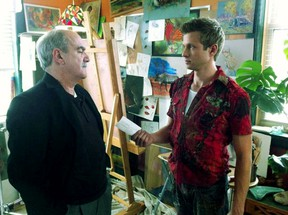 North Bay's Jim Calarco plays the role of Jason Cahill, a businessman with a cold attachment to his artistic son, Cameron, played by Jamie Spilchuk, shown in this scene where the father views his son's artwork for the first time in the series Hard Rock Medical premiering Sunday at 8 p.m. on TV Ontario.