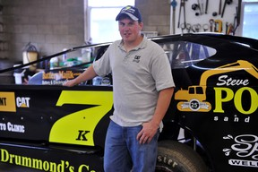 Kenny Polite is pictured with his car, which is sporting a brand-new body. The Spencerville-area native races in the Sportsman division at the BOS. (STEVE PETTIBONE The Recorder and Times)