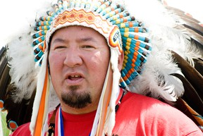 Manitoba Grand Chief Derek Nepinak made his first stop at Long Plain First Nation's Keeshkeemahquah Conference and Gaming Centre on Thursday, June 6, 2013, as part of a 4,000 kilometre journey, which will see him and others visit between 40 to 50 reserves in Manitoba, Saskatchewan and Alberta within 10 days. (Svjetlana Mlinarevic/Portage Daily Graphic/QMI Agency)