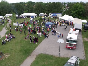 An aerial shot shows the Saugeen Shores Relay For Life event in its new location during the opening ceremonies June 7, 2013.