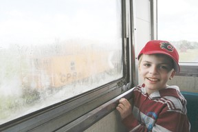 Cody Schimpf of Ponoka enjoys his view from the caboose during a train ride at the Alberta Central Railway Museum June 9.