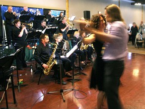 Couples dance to the big band sound of Riverside Jazz during the CMS Big Band Dance at the Cochrane RancheHouse, June 8. About 160 people of all ages enjoyed the performances of three bands.