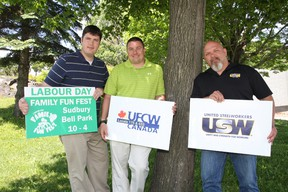Labour Day Family Fun Fest organizer Richard Eberhardt, left, Derik McArthur, director of UFCW Local 175, and Rick Bertrand, president of USW Local 6500 were on hand at Bell Park in Sudbury, ON. on Wednesday, June 12, 2013 to announce details of the Labour Day festival. JOHN LAPPA/THE SUDBURY STAR/QMI AGENCY