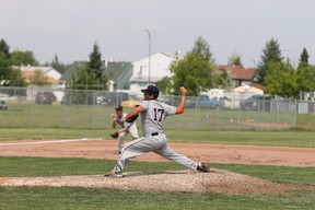 Fort McMurray Midget AAA Oil Giants pitcher Carter Ulliac pitched the majority of the the OG's third game against the Dukes this weekend. While the Oil Giants were swept, head coach Chad Marshall was pleased with his team's pitchers. TREVOR HOWLETT/TODAY STAFF