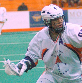 Johnny Powless scored for the Arrows in a 12-3 win over the St. Catharines Athletics on Sunday. (Expositor file photo)