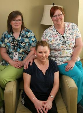 """Patient Debbie Farrugie (centre) poses with Sara Darby (left) and Denise Maertens, Brantford General Hospital mammography technologists. """"I can tell that you both love your job!"""" says Farrugie.(Submitted photo)"""