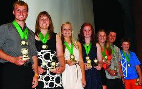 The athletes of the year at South Grenville District High School are, from left to right, Alex Stephenson (senior male), Ashley Connell (senior female), Mattye Bologna (junior female), Alayna Baelde (intermediate female), Cassidy Michalicka (intermediate female), Mac Render (intermediate male) and Jordie Dodge (intermediate male). (STEVE PETTIBONE The Recorder and Times)
