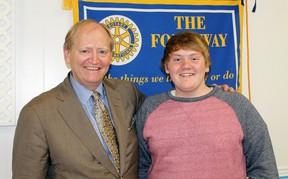 Douglas Elliott, participant in the Rotary Club's International student program in 1978, with this year's selected student Jeremiah Dickson at the Masonic Hall on June 11. Photo by JORDAN ALLARD/THE STANDARD/QMI AGENCY