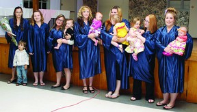 TINA PEPLINSKIE    The Young Parent Support Program offered by Columbus House celebrated its graduation Wednesday. Receiving their diplomas (from left) were Niomy Hogan, with Seth; Courtney Clouthier; Hailey Fitzpatrick with Harmony; Kayla Kosnaski with Aeyva, Alex Lapierre with Ava, Hailey McKee with April and Stephanie Frotten with Grace.