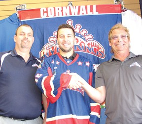 The River Kings have welcomed draft pick and former Jr. A Colts player Chris Ayotte to the team. From left are Rick Lapierre (River Kings business and operations manager), Ayotte and Bernie Villeneuve (River Kings owner).