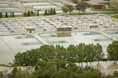Calgary's wastewater treatment plant sits under Bow River flood waters in Calgary, Alta. on Friday, June 21, 2013. Massive flood waters throughout southern Alberta have heavily affected many thousands of residents. Lyle Aspinall/Calgary Sun/QMI Agency