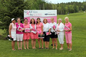 Top fundraisers from the seventh Golf Fore the Cure event held at Hollinger Golf Club on June 15 included, from left, Beverly LowAChee, Lyne Miron, Janice Viskovic, Jackie Harkins, Lauri-Ann Loreto Neal, Julie Landriault, Lorena Seerala, Karen Stefanic and Rachel Blaquire.