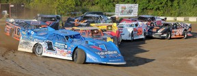 Josh Richards of Shinnston, W.Va. leads the field thru Turn 4 during World of Outlaws Late Model Series qualifying action Thursday at Brighton Speedway.