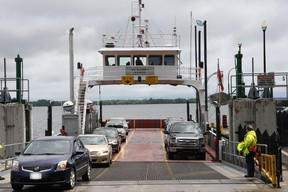 File art of the Glenora ferry, which services Prince Edward County, Ont.