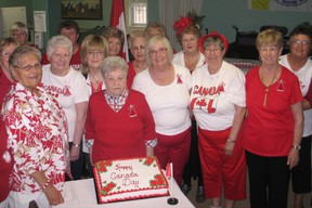 Volunteers at the Cornwall Senior Citizens Club threw a party for Canada Day on Friday, celebrating the club's 60th anniversary as well.  KATHRYN BURNHAM staff photo
