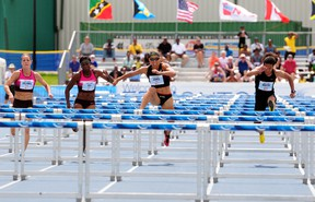 American Olympic hurdler Lolo Jones competes in the women's 100-metre hurdles at the Edmonton International Track Classic at Foote Field in Edmonton, AB on Saturday, June 29, 2013. TREVOR ROBB QMI Agency