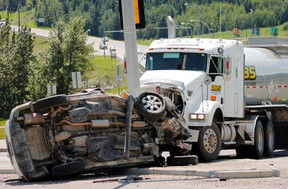 The driver of a SUV was airlifted by STARS air ambulance with life-threatening injuries after colliding with a semi-truck near the corner of Hwy. 22 and Griffin Road, July 2.