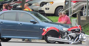 A motorcyclist was injured in a collision on Norfolk Street South near South Drive in Simcoe on Tuesday evening. (BRIAN JONES PHOTO Special to Simcoe Reformer)