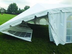 A rented tent, among other things, were damaged the night before the Beaumont Soccer Association's year end tournament.